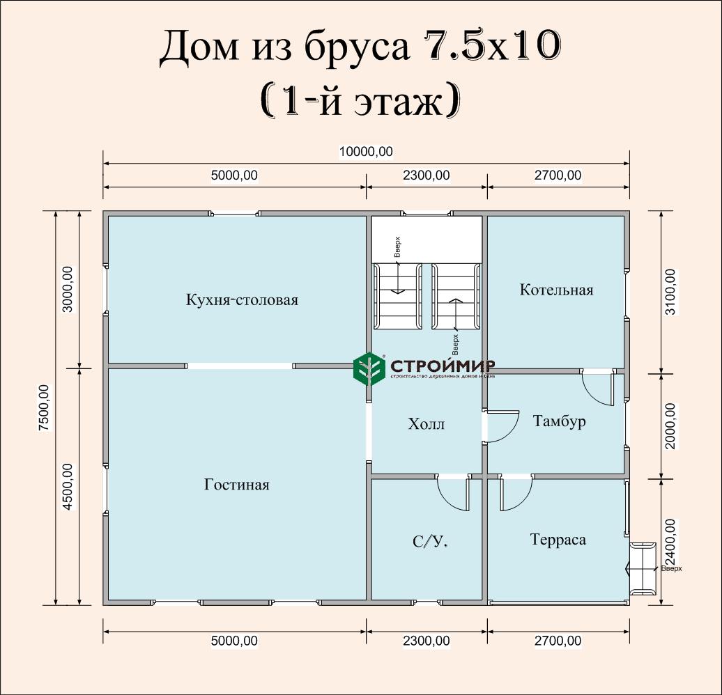 Дом 7,5х10 в полтора этажа (проект Д-70)
