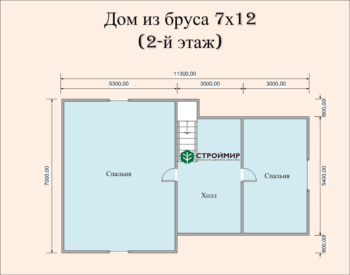 Дом 7х12 из бруса в полтора этажа (проект Д-71)