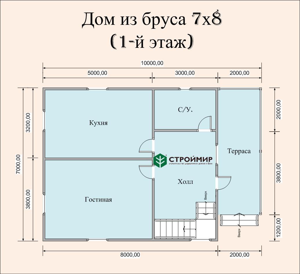 Дом 7х8 в полтора этажа с террасой (проект Д-72)