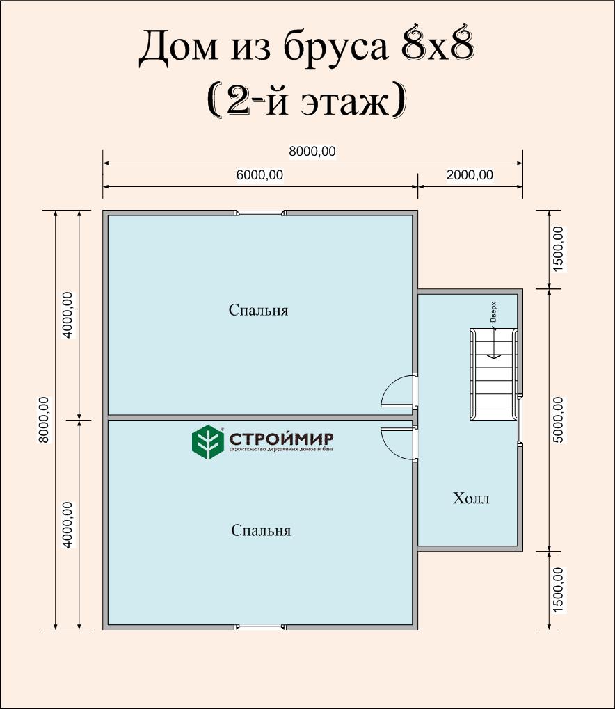 Дом 8х8 в полтора этажа (проект Д-73)