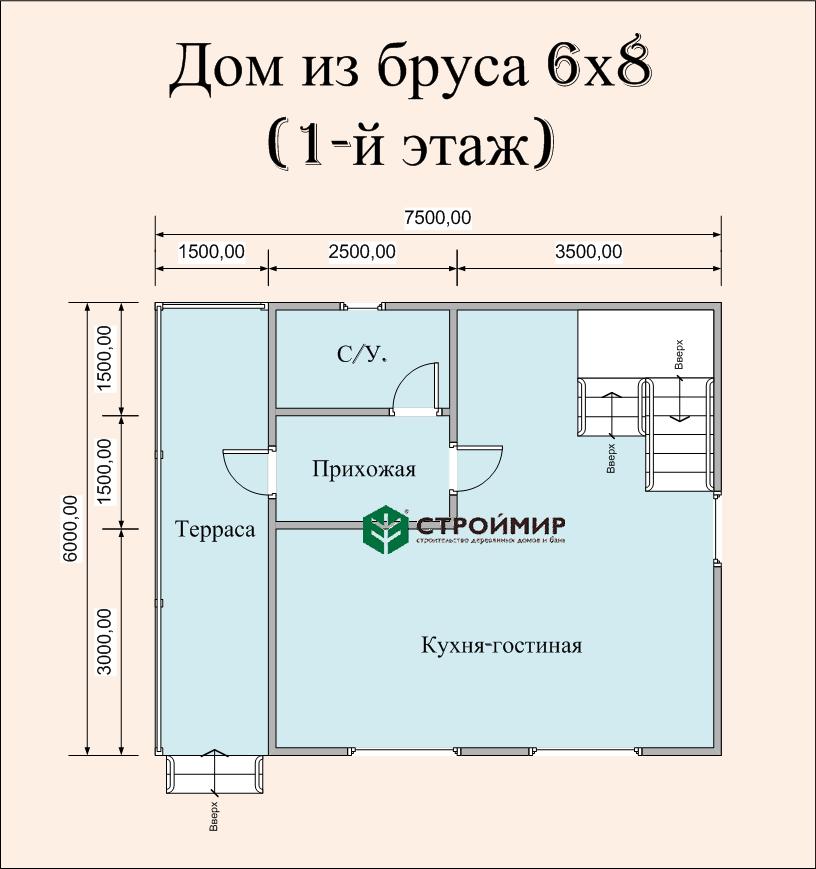 Дом 6х8 в полтора этажа (проект Д-78)