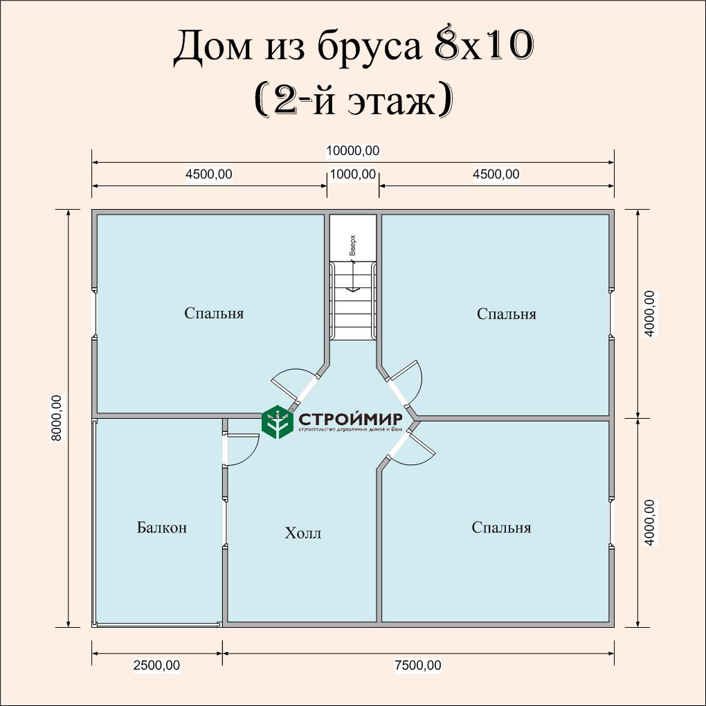 Дом 8х10 из бруса (проект Д-81)
