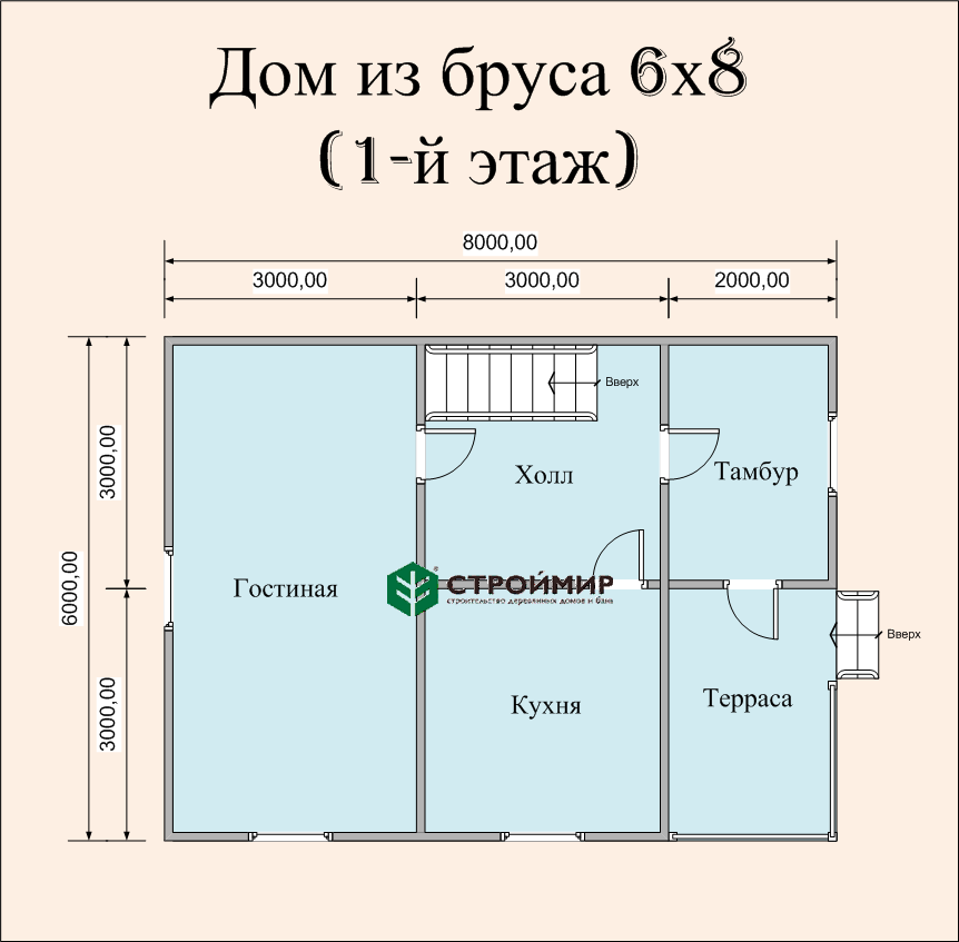 Дом 8х6 в полтора этажа (проект Д-83)