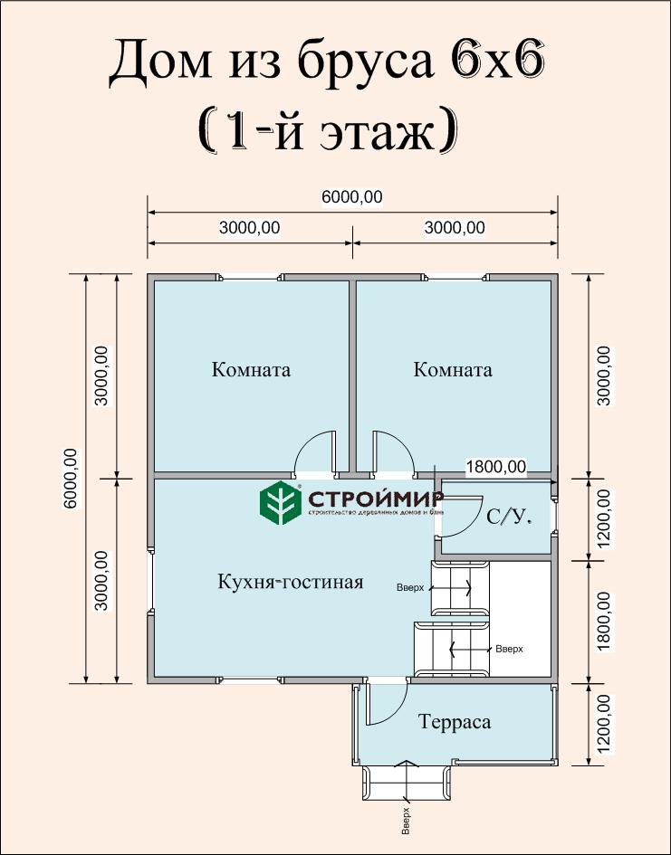 Дом 6х6 в полтора этажа ( проект Д-84)
