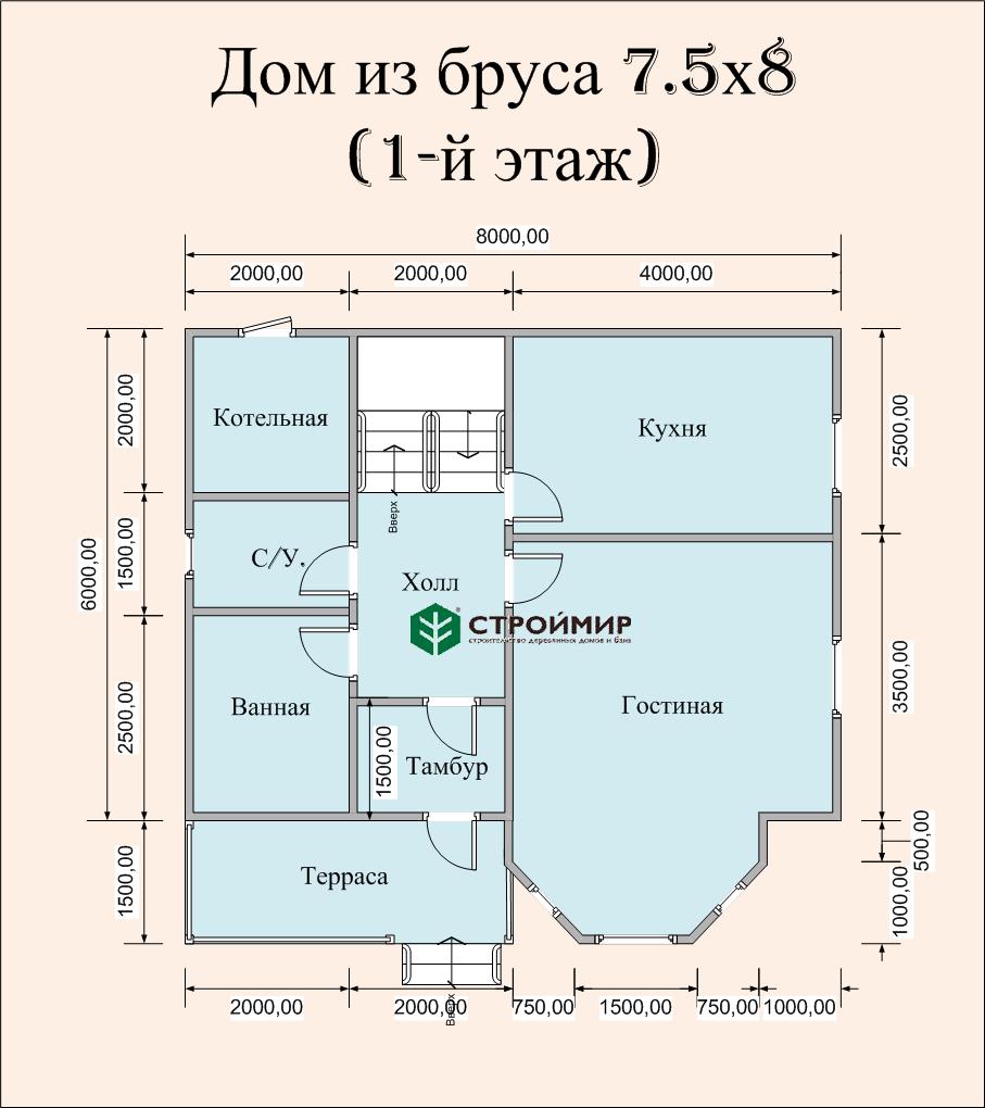 Дом 7,5х8 с эркером в полтора этажа (проект Д-85)