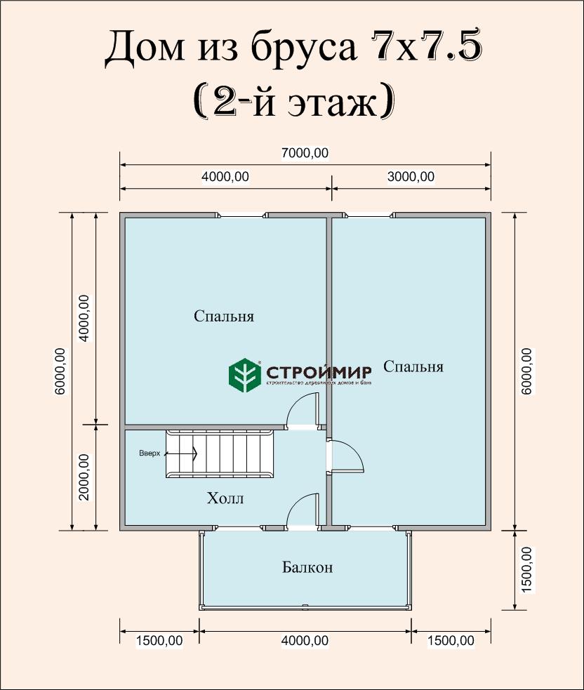 Дом 7х7,5 в полтора этажа (проект Д-86)
