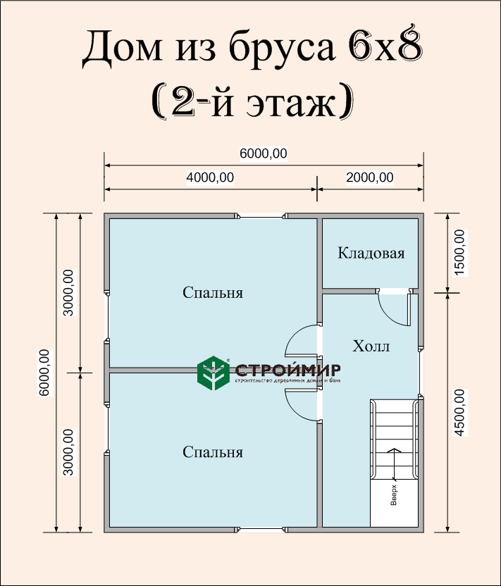 Двухэтажный дом 8х6 (проект Д-90)
