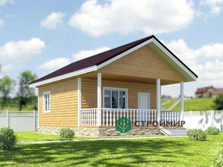 Одноэтажный каркасный дом 6х8 с террасой, проект К-51