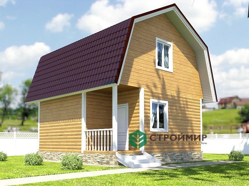 Каркасный дом 6х6 с ломаной крышей, проект К-70