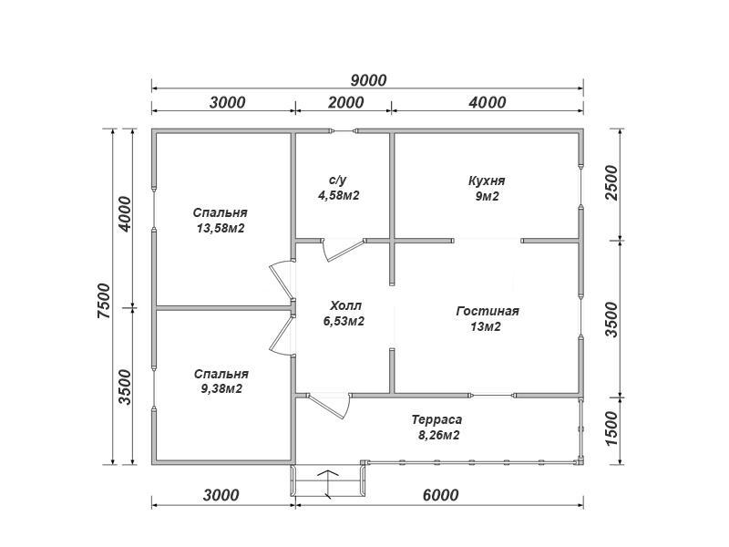 Каркасный дом 7,5х9 проект К-53