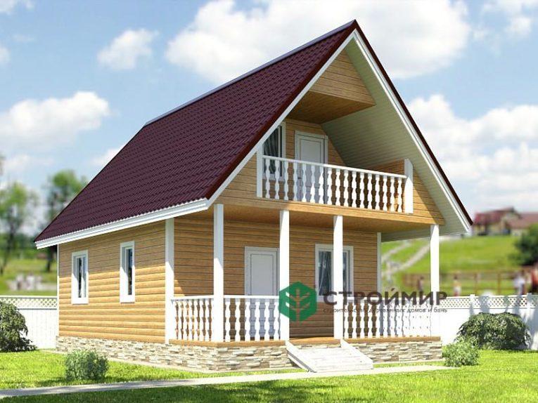 Каркасный дом 6х9 с террасой и балконом, проект К-24