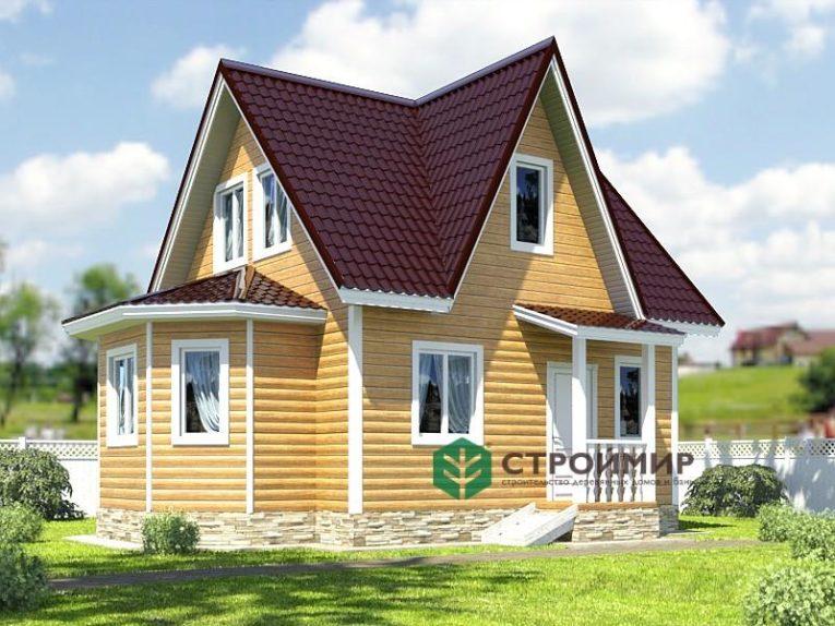 Каркасный дом 7х8 с эркером, проект К-30