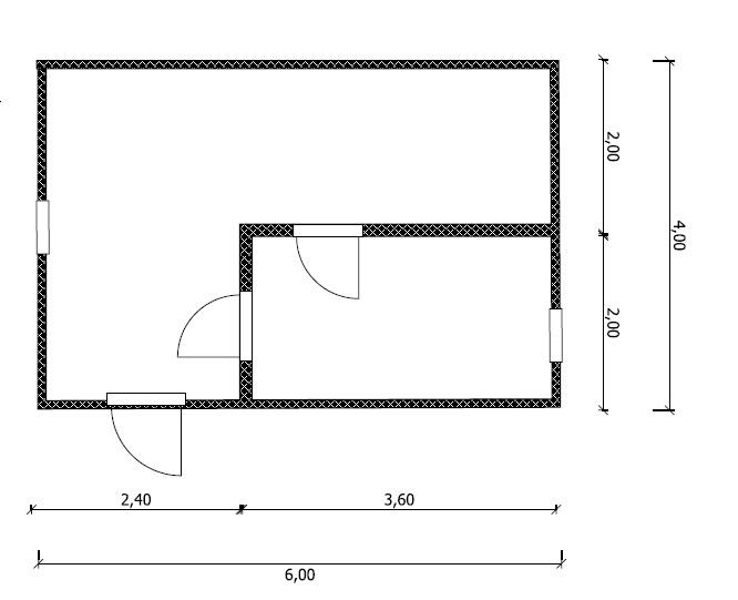 план бани 6х4