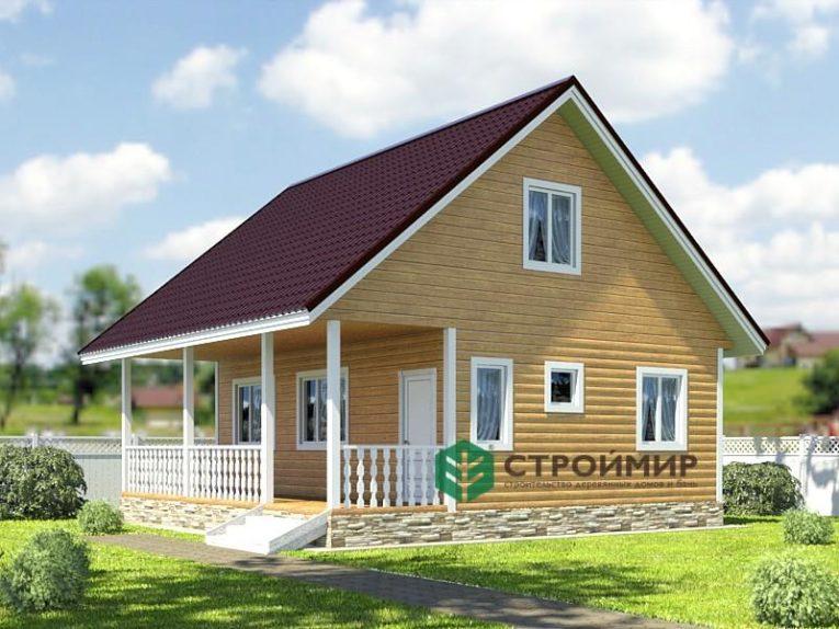 Каркасный дом 8х8 с террасой, проект К-37