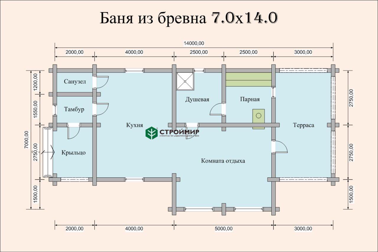 Баня 7х14 из оцилиндрованного бревна по проекту ББ-18