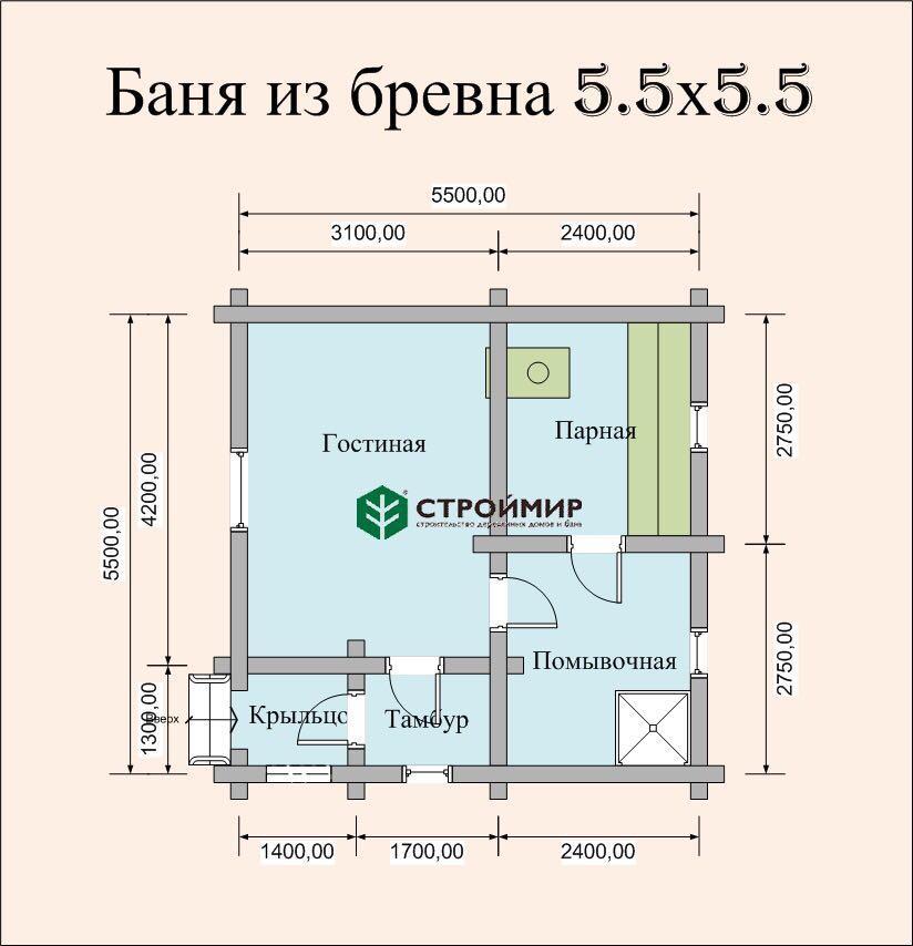 Баня из бревна 5,5х5,5 (проект ББ-22)