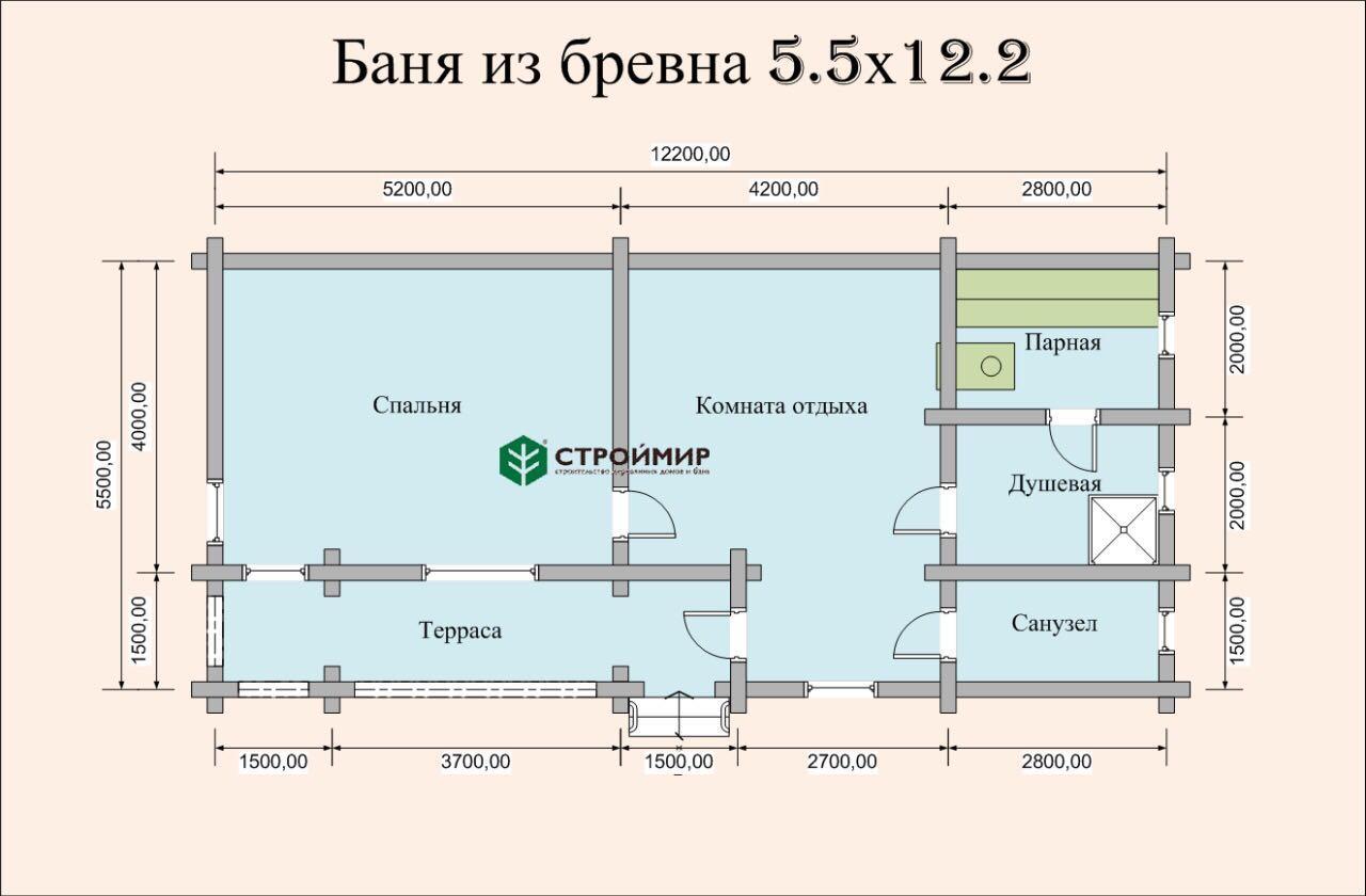 Баня 5,5х12,2 из оцилиндрованного бревна по проекту ББ-16