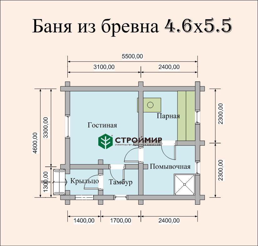 Баня 4,6х5,5 из оцилиндрованного бревна по проекту ББ-1