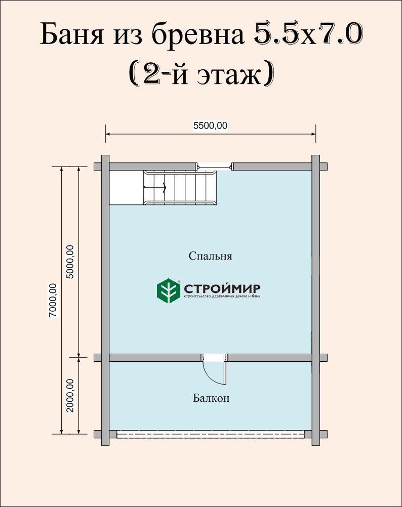 Баня 5,5х7 из оцилиндрованного бревна в 2 этажа по проекту ББ-10