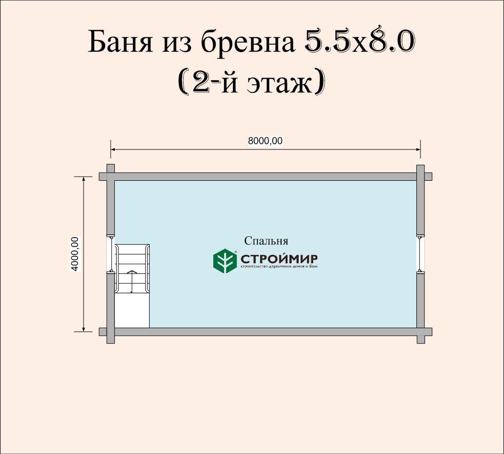 Баня 5,5х8 из оцилиндрованного бревна по проекту ББ-8