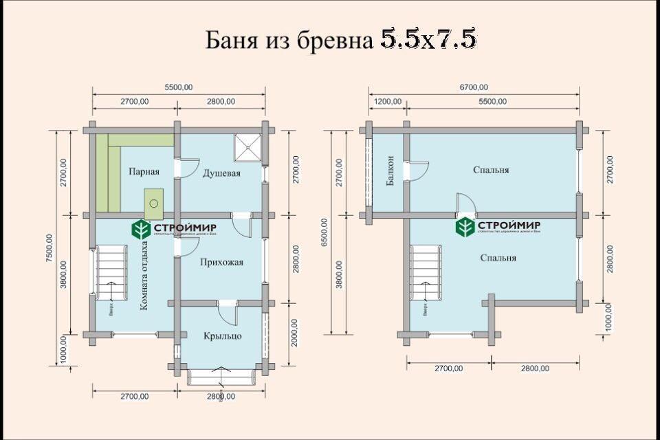 Баня 5,5х7,5 из оцилиндрованного бревна по проекту ББ-23