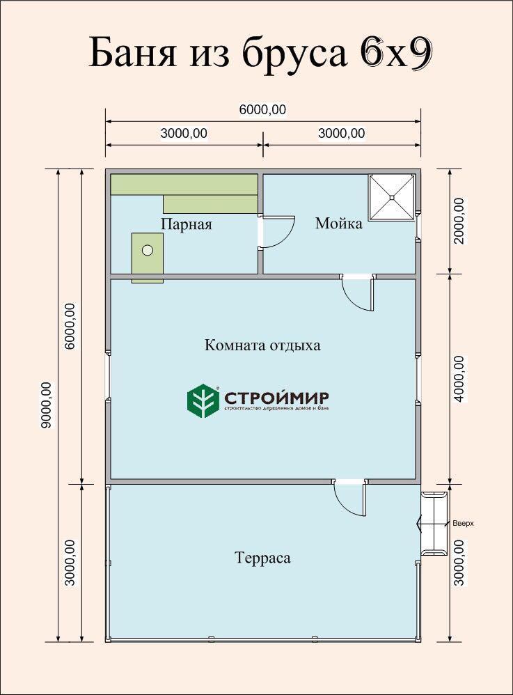 Баня 6х9 одноэтажная