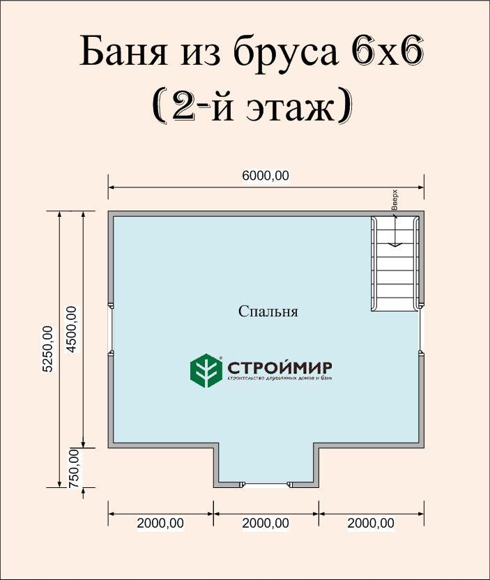 Баня 6х6 из бруса с кукушкой (проект Б-51)