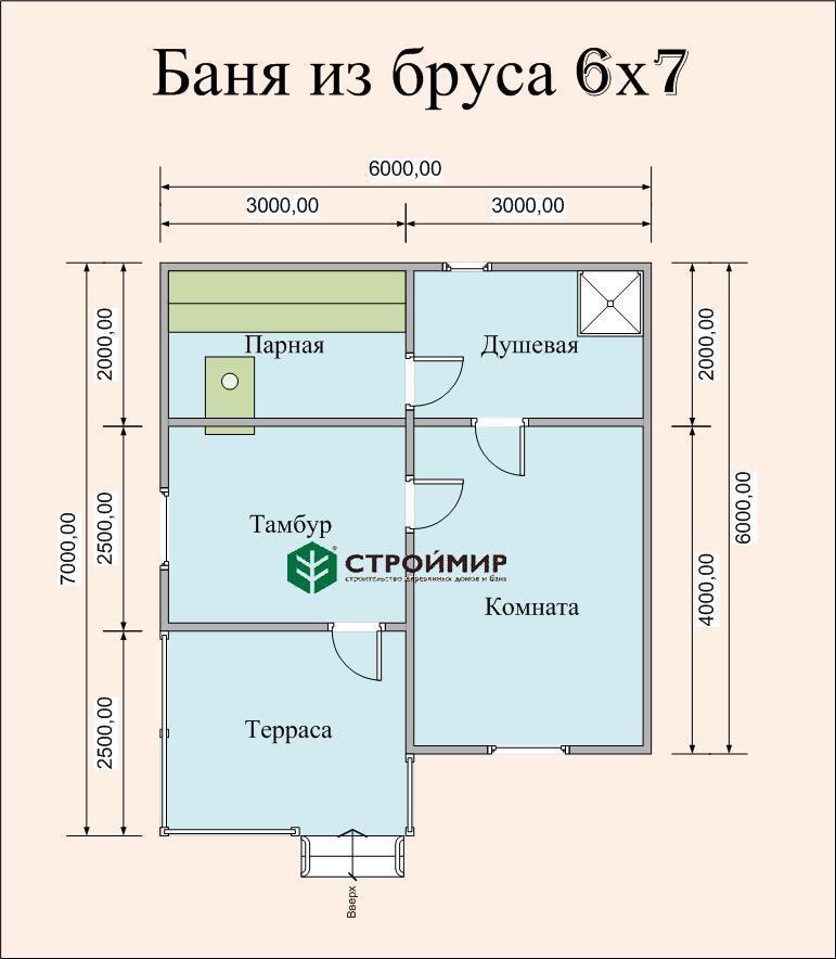 Одноэтажная баня 6х7 из бруса (проект Б-54)