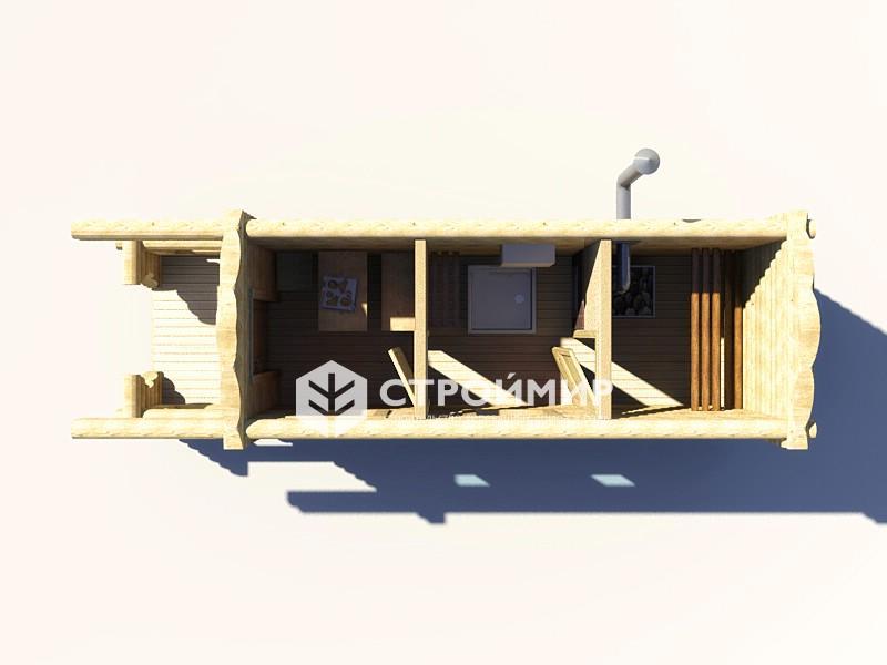 Готовая баня из бревна с террасой