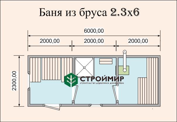 Готовая баня 6х2