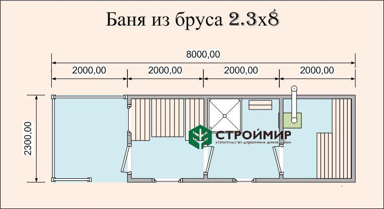 Готовая баня 2,3х8 с террасой
