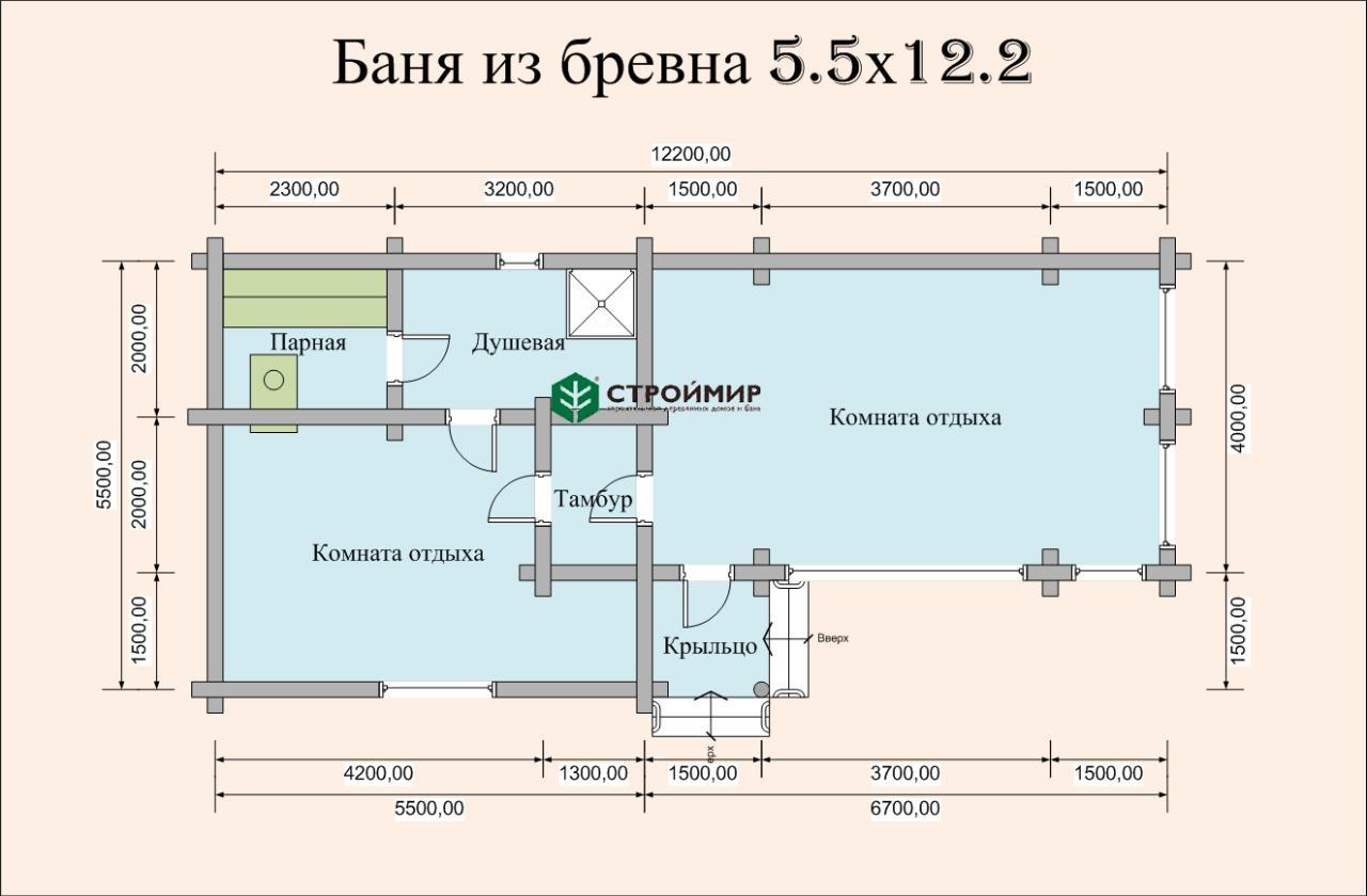 Баня 5,5х12,2 из оцилиндрованного бревна по проекту ББ-15