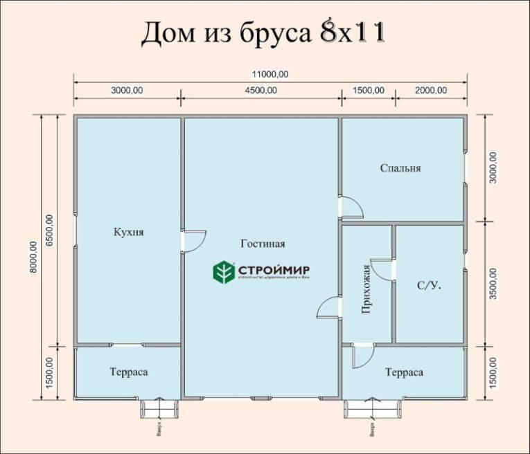 Одноэтажный дом из бруса 8х11 по проекту Д-102