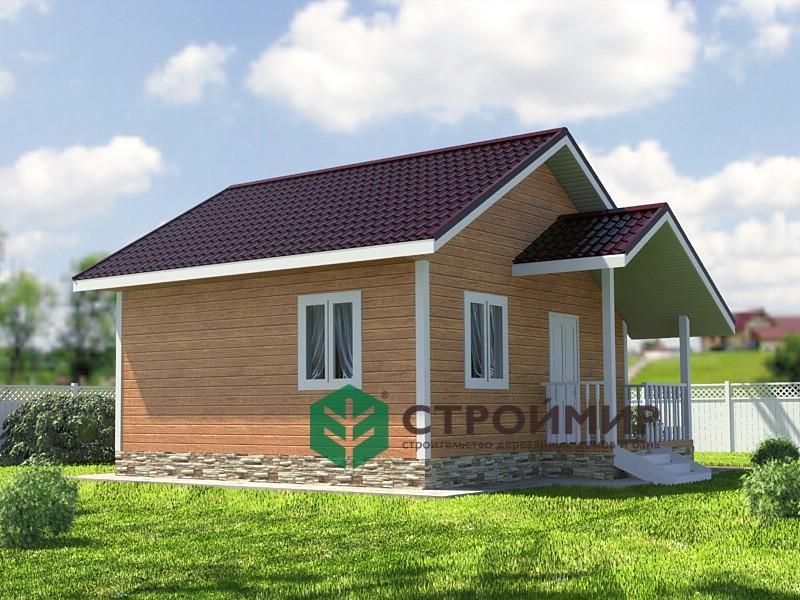 Каркасный дом 6х6 с крыльцом, проект К-49
