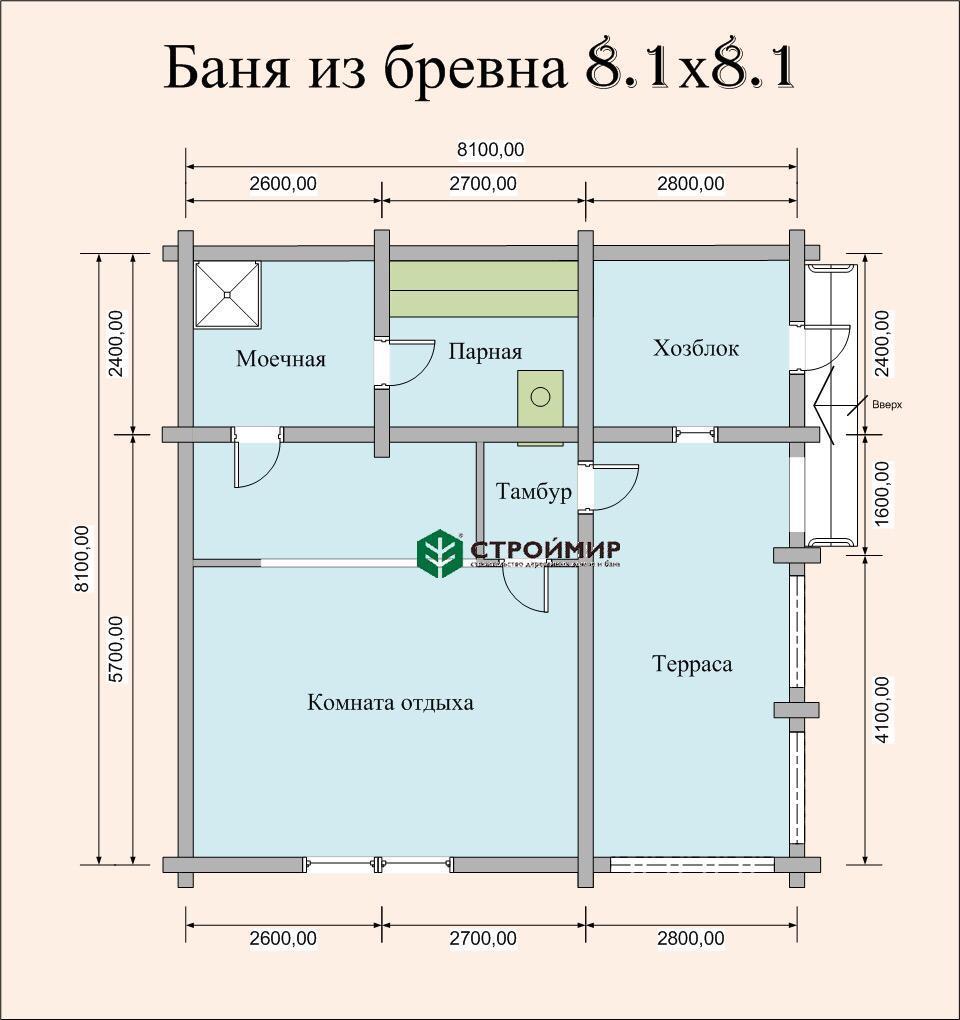 Баня 8,1х8,1 из оцилиндрованного бревна по проекту ББ-27