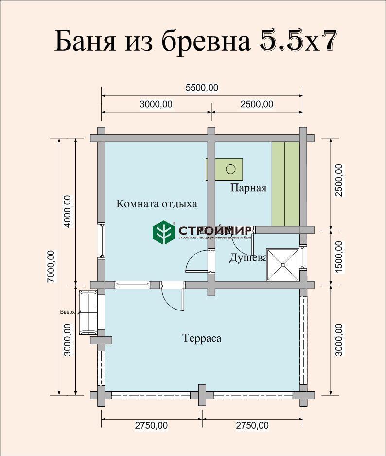 Баня 5,5х7 из оцилиндрованного бревна по проекту ББ-32