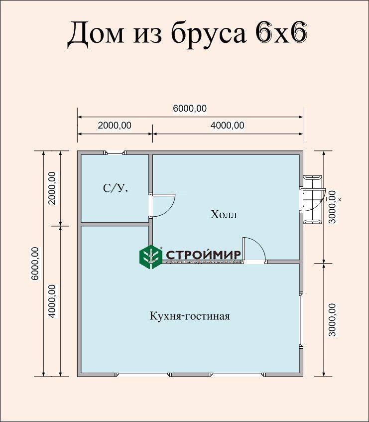 Одноэтажный дом из бруса 6х6 по проекту Д-107