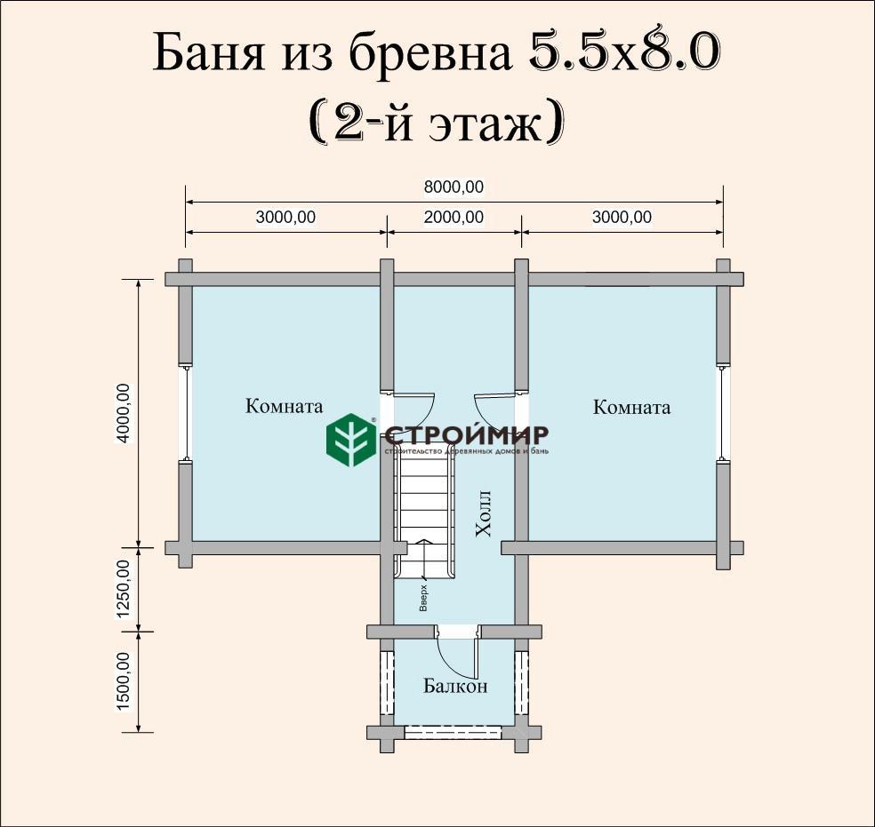 Баня 5,5х8 из оцилиндрованного бревна по проекту ББ-34