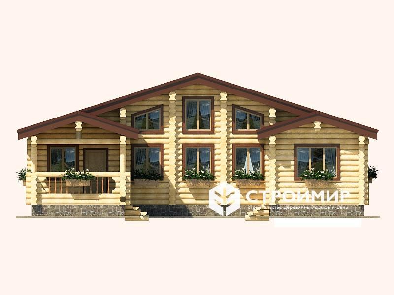 Дом 10х12 с гаражом из бревна ДБР-2