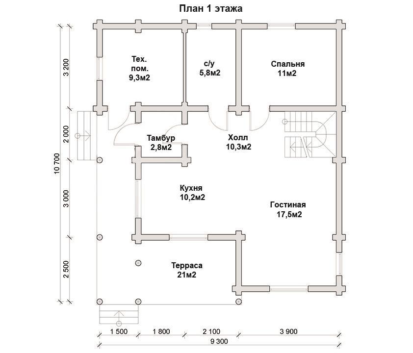 Дом 9х10 из бревна ДБР-12