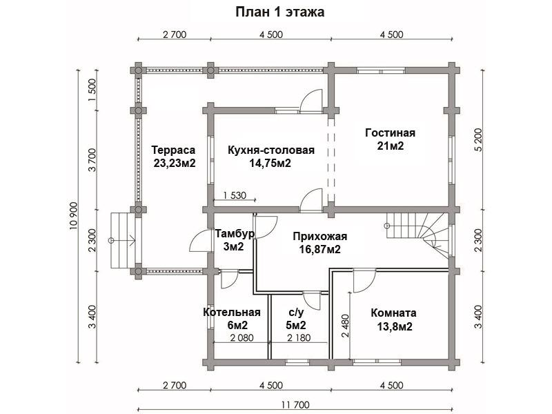 Дом 10х11 из бревна ДБР-18