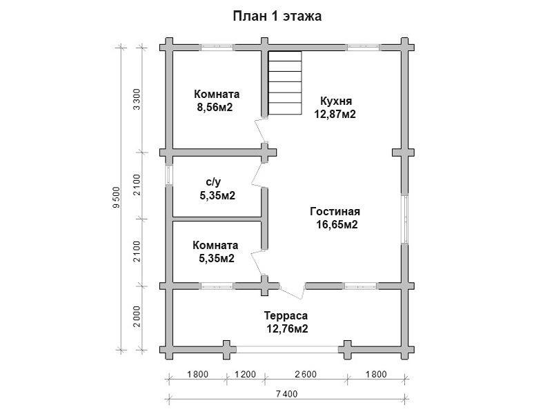 Дом Терем из бревна 7,4х9,5