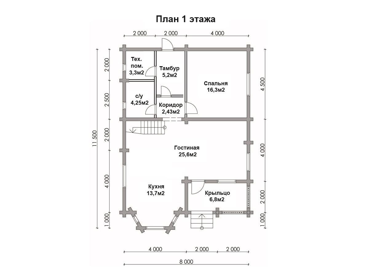 Дом 8х11 из бревна ДБР-8