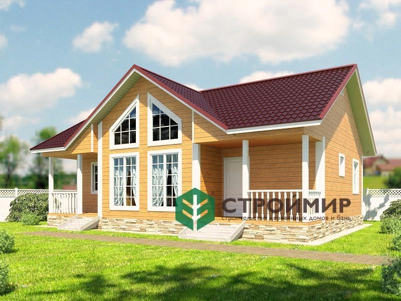 Одноэтажный каркасный дом 8х11 с 2 входами, проект К-6
