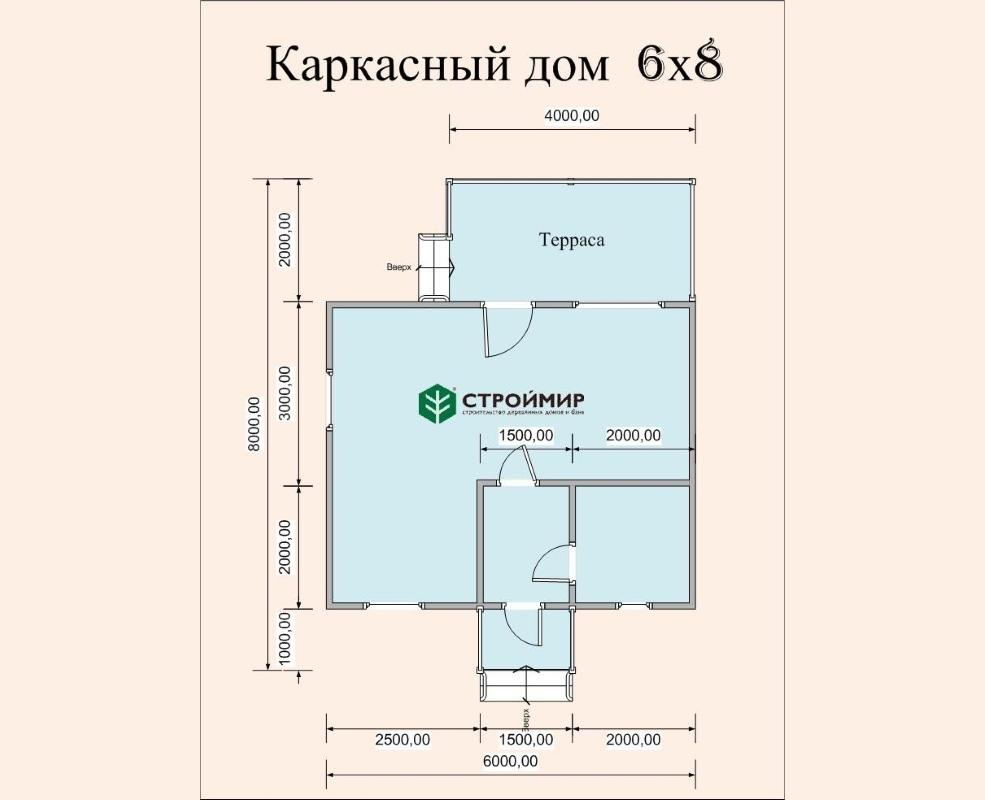 Каркасный дом 6х8, проект К-4