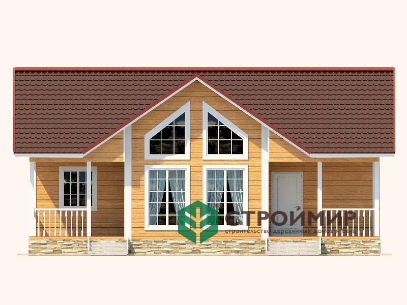 Одноэтажный каркасный дом 8х11 с 2 входами, проект К-1