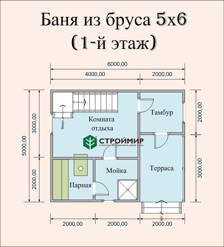 Баня 5х6 с мансардой из бруса (проект Б-60)