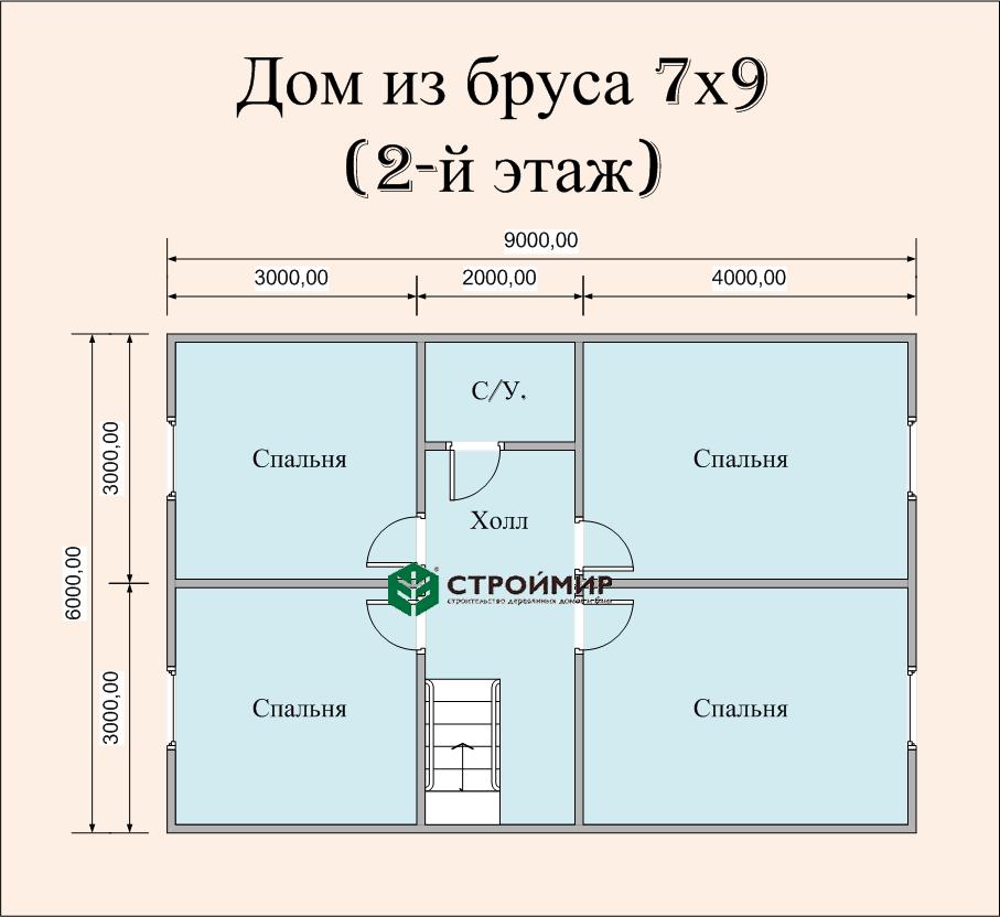 Дом 9х7 из бруса по проекту (Д-55)