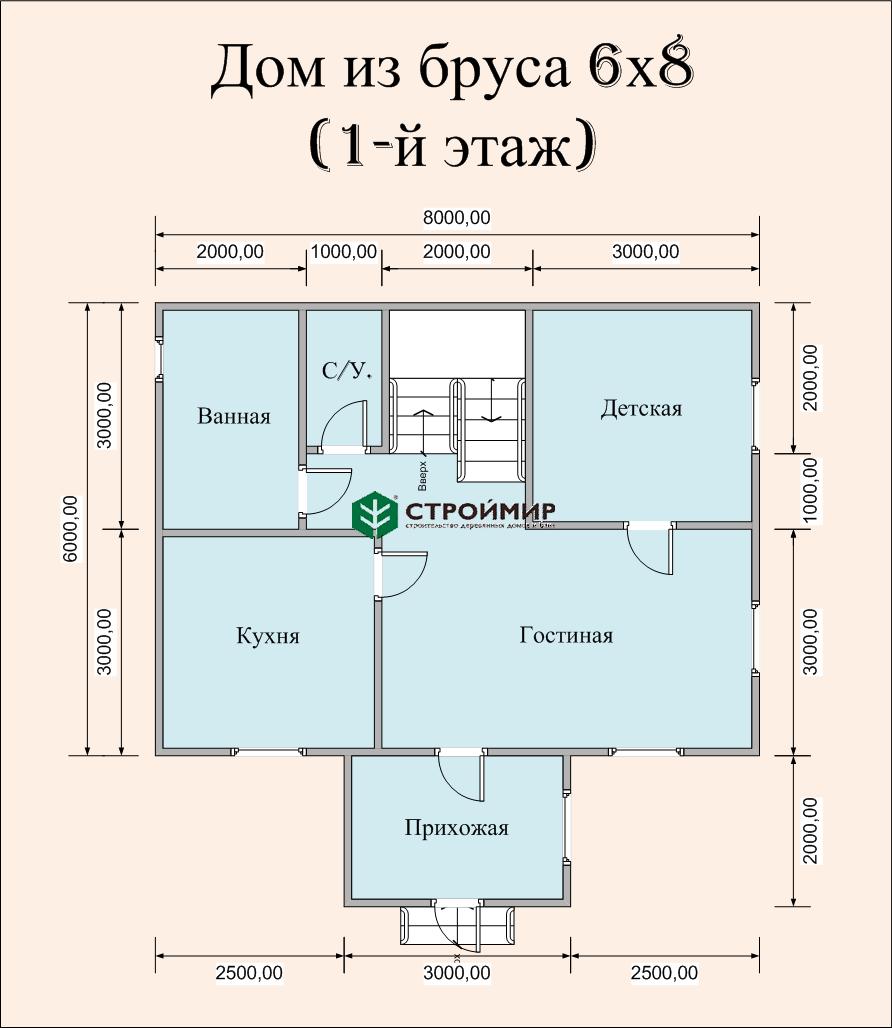 Загородный дом 6х8 (Д-64)
