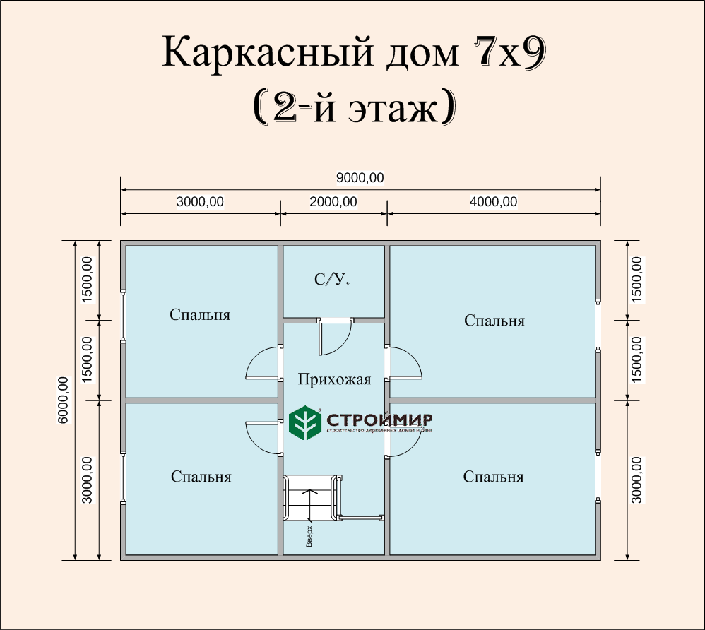 Каркасный дом 7х9, проект К-12